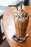 Iced Coffee. With whipped cream and sprinkle with almonds royalty free stock images