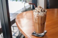 Iced Coffee. With whipped cream and sprinkle with almonds stock photos