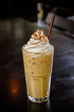 Iced coffee with whipped cream stock photography