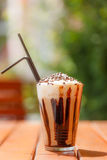 Iced coffee with whipping cream Royalty Free Stock Images