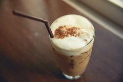 Iced coffee. On wood table Stock Images