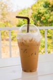 Iced coffee on wooden table Stock Photography