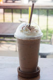 Iced coffee on wooden table Royalty Free Stock Photography