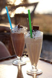 Iced coffees. On a table in the bar on the beach Stock Images
