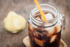 Iced cola with potato chips Royalty Free Stock Photography