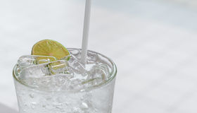 An iced cold Lemonade soda glass Royalty Free Stock Photography