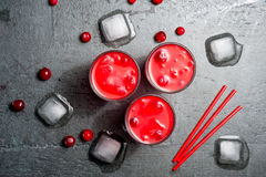 Iced Cranberry Cocktail with Vodka. Alcohol shot drink. Top view Stock Photo