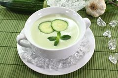 Iced cucumber soup Royalty Free Stock Images