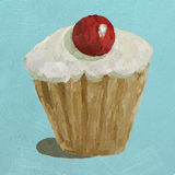 A painted frosted cupcake illustration Royalty Free Stock Images