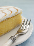Iced Custard Slice on a plate. With a fork resting on the plate royalty free stock photo