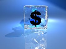 Iced dollar Stock Photography