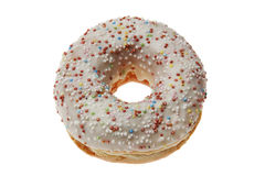 Iced Doughnut covered in sprinkles Stock Image