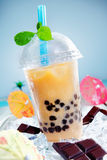 Iced drink with chocalate and a touch of green Royalty Free Stock Photos