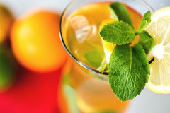 Iced drink with mint and citrus fruit. Selective Royalty Free Stock Images