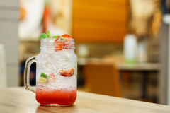 Iced Drink With Strawberry And Lemon Royalty Free Stock Images