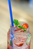 Iced Drink With Strawberry And Lemon Royalty Free Stock Image