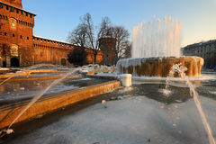 Iced fountain at Castello Sforzesco - Milan Stock Photos