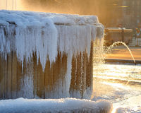 Iced fountain at Castello Sforzesco - Milan Royalty Free Stock Photos