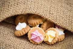Iced Gem Biscuits on Burlap Royalty Free Stock Image
