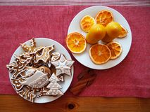 Iced Gingerbread and beeswax candles Stock Photography