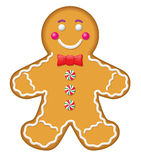 Iced gingerbread Man Cookie. Illustration of an iced gingerbread man cookie with a red bow tie and mint buttons stock illustration