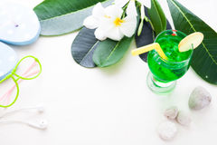 Iced green color drink on white background, Summer Royalty Free Stock Image