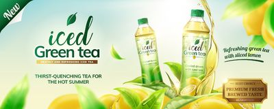 Free Iced Green Tea Ads Royalty Free Stock Image - 116323166