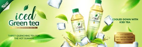 Iced green tea ads. With bottles on ice cubs and leaves flying around them, 3d illustration on green background Stock Photography