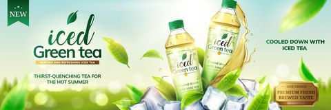 Iced green tea ads. With bottles on ice cubs and leaves flying around them, 3d illustration on bokeh background Stock Images