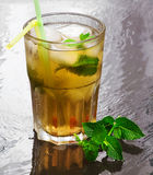Iced green tea flavored with mint Stock Photos
