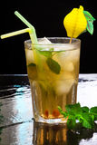 Iced green tea flavored with mint Stock Photo