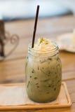 Iced green tea latte Royalty Free Stock Image