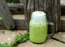Iced green tea and milk is delicious Royalty Free Stock Image