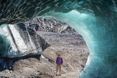 Iced grotto. Ice cavern in glacier in the Chile mountains royalty free stock image