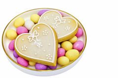 Iced heart shaped cookies Royalty Free Stock Photography
