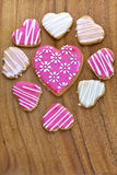 Iced heart shaped cookies. Stock Image