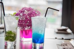 Iced Juices. Iced blue and mint Juice in Japanese restaurants stock photo