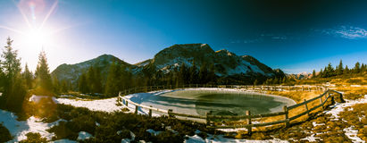 Iced lake in the alps Stock Images