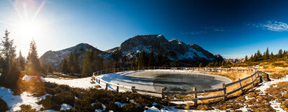 Iced lake in the alps Stock Image