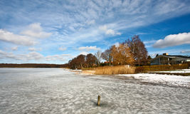 Iced lake in denmark Stock Photo