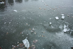 Iced lake. In Hungary, with broken ice Royalty Free Stock Photo