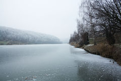 Iced lake. In Hungary, with broken ice Royalty Free Stock Image