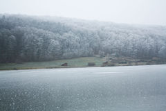 Iced lake. In Hungary, with broken ice Stock Photos