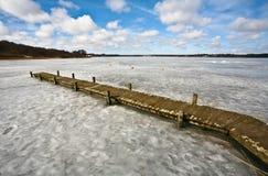 Iced lake i denmark arkivbild
