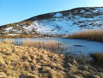 Iced lake in the mountain. At the beginning of spring. Sunny day and snow royalty free stock photos