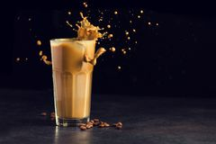 Free Iced Latte Coffee Glass With Splash Royalty Free Stock Photo - 111397985