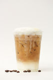 Iced latte in takeaway cup Stock Photos