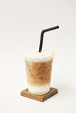 Iced latte in takeaway cup Royalty Free Stock Images
