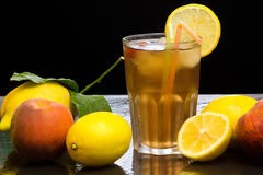 Iced lemon and peachtea Stock Photo