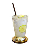 Iced lemon soda. Iced lemon lime soda on white background stock photos